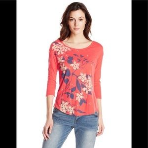 Lucky Brand cherry blossom coral 3/4 sleeve top 1X